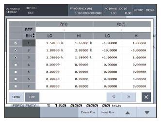 Comparator setting screen